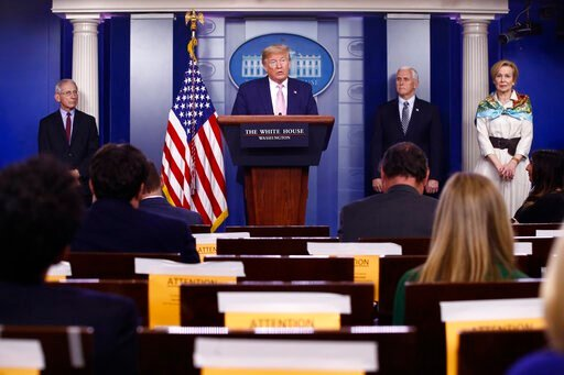 (AP Photo/Patrick Semansky). President Donald Trump speaks during a coronavirus task force briefing at the White House, Saturday, April 4, 2020, in Washington. From left, Dr. Anthony Fauci, director of the National Institute of Allergy and Infectious D...
