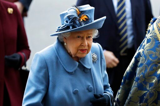 (AP Photo/Kirsty Wigglesworth, file). FILE - In this Monday, March 9, 2020 file photo, Britain's Queen Elizabeth II arrives to attend the annual Commonwealth Day service at Westminster Abbey in London. In a rare address to the nation taking place Sunda...