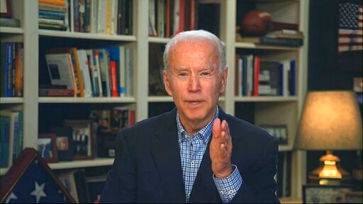 (Biden for President via AP). In this image from video provided by the Biden for President campaign, Democratic presidential candidate former Vice President Joe Biden speaks during a virtual press briefing Wednesday, March 25, 2020.