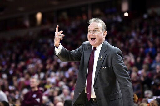(AP Photo/Sean Rayford). Mississippi State coach Vic Schaefer shouts at an official during the first half of an NCAA college basketball game against South Carolina Monday, Jan. 20, 2020, in Columbia, S.C.