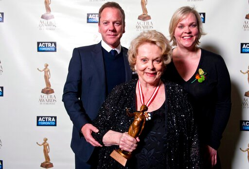 (Galit RodanThe Canadian Press via AP, File). FILE -In a Feb. 23, 2013 file photo, Shirley Douglas poses with her children Kiefer Sutherland and Rachel Sutherland after she received the ACTRA Toronto Award of Excellence at the 11th annual ACTRA awards ...