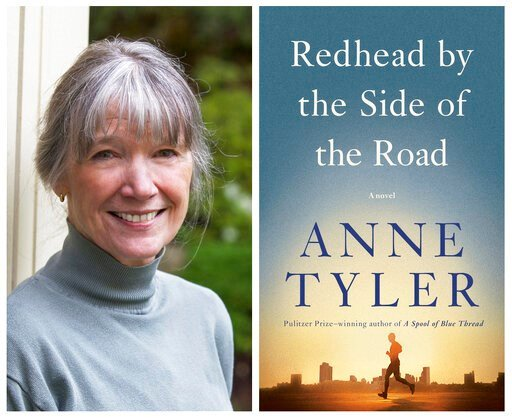 "(Diana Walker, left, and Knopf via AP). This combination photo shows a portrait of author Anne Tyler, left, and the cover of her latest book, ""Readhead by the Side of the Road."""