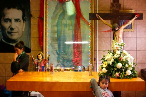 (AP Photo/Dario Lopez-Mills). In this Feb. 26, 2019 photo, migrants rest in the chapel of the San Juan Bosco migrant shelter, in Nogales, Mexico. For years, Catholic-led, U-S.-based nonprofits have been at the forefront of efforts to support migrants a...