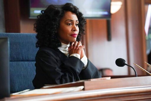 "(Monty Brinton/CBS via AP). This image released by CBS shows Simone Missick in a scene from ""All Rise."" The CBS series will virtually produce an episode that reflects the world's current state of the COVID-19 pandemic, social distancing and its impact ..."
