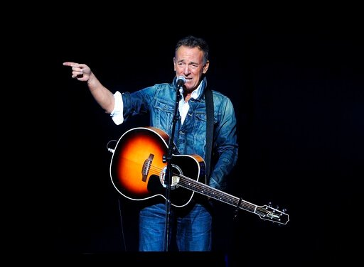(Photo by Brad Barket/Invision/AP, File). FILE - In this Nov. 5, 2018 file photo, Bruce Springsteen performs at the 12th annual Stand Up For Heroes benefit concert at the Hulu Theater at Madison Square Garden in New York. Springsteen will appear on Sir...