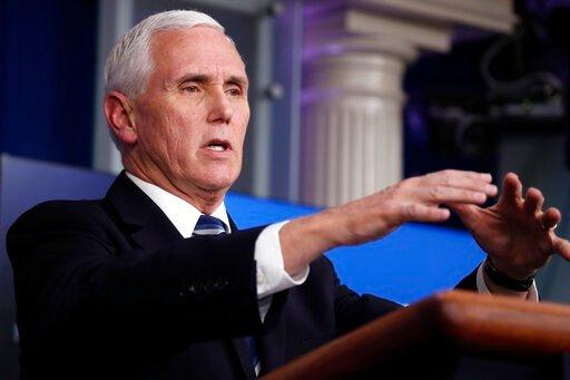 (AP Photo/Alex Brandon). Vice President Mike Pence speaks about the coronavirus in the James Brady Press Briefing Room of the White House, Tuesday, April 7, 2020, in Washington.