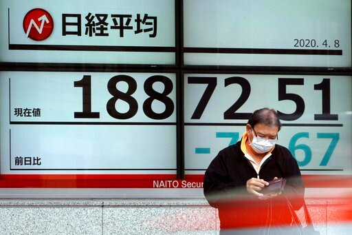 (AP Photo/Eugene Hoshiko). A man stands in front of an electronic stock board showing Japan's Nikkei 225 index at a securities firm Wednesday, April 8, 2020, in Tokyo. Asian shares were mostly lower after gyrating in early trading amid uncertainty over...