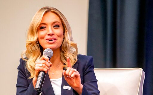 (Zach Boyden-Holmes/The Des Moines Register via AP  ). In this Thursday, Jan. 16, 2020, photo, Kayleigh McEnany speaks during a Women for Trump event at the Holiday Inn in Des Moines, Iowa. McEnany, a top Trump campaign spokeswoman, will take over as T...