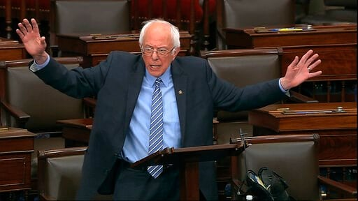 (Senate Television via AP). In this image from video, Sen. Bernie Sanders, I-Vt., speaks on the Senate floor at the U.S. Capitol in Washington, Wednesday, March 25, 2020.