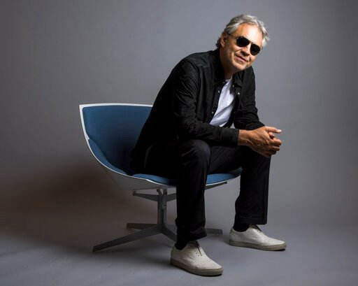 """(Photo by Drew Gurian/Invision/AP, File). FILE - In this Oct. 29, 2015 file photo, Andrea Bocelli poses for a portrait in New York. Bocelli has released an album, """"Cinema,"""" which includes a duet with pop star Ariana Grande. Bocelli will sing at the Duo..."""