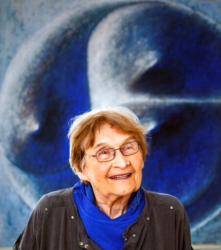 (Radek Petrasek/CTK via AP, file). FILE - In this July 14, 2014 file photo, influential Czech glass artist Jaroslava Brychtova smiles in Zelezny Brod, Czech Republic. Brychtova, a Czech glass artist whose sculptures and objects created together with he...